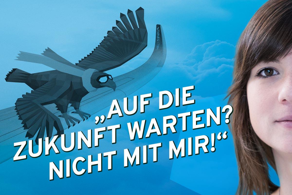 """""""Auf die Zukunft warten? Nicht mit mir!"""" Christine studiert Nachhaltigkeitswissenschaften die Illustration eines Adlers mit Schal passt dazu"""