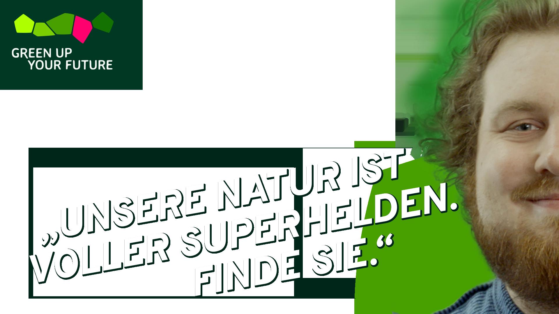 """""""Unsere Natur ist voller Superhelden. Finde sie."""" Biologe Dennis und die Illustration einer Geckopfote"""