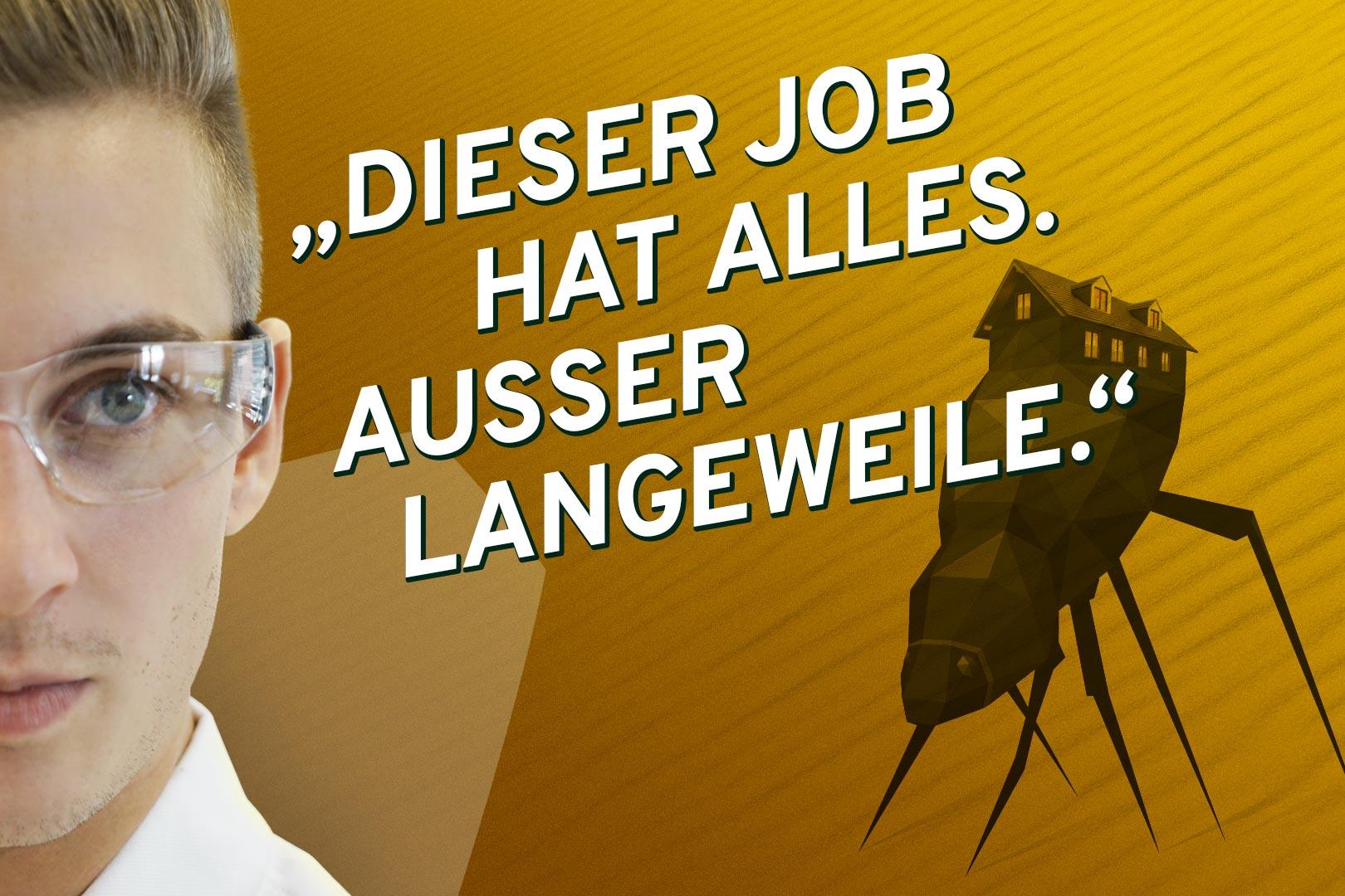 Lacklaborant Heinrich und die Illustration eines Nebeltrinker-Käfer. Was der Käfer mit Lack zu tun hat erfährst du wenn du klickst